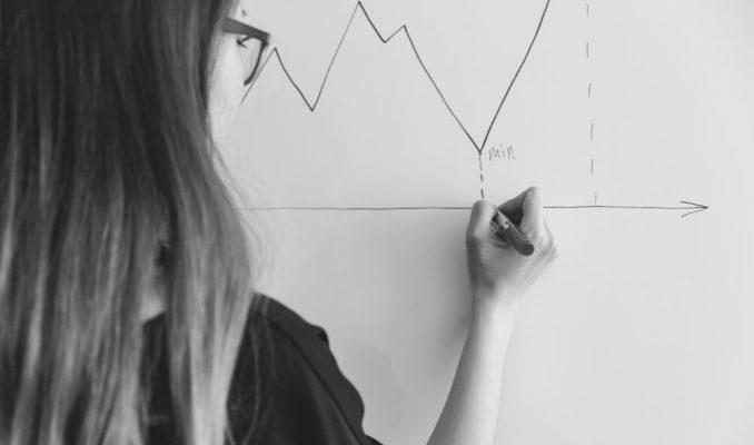 women writing on a white board