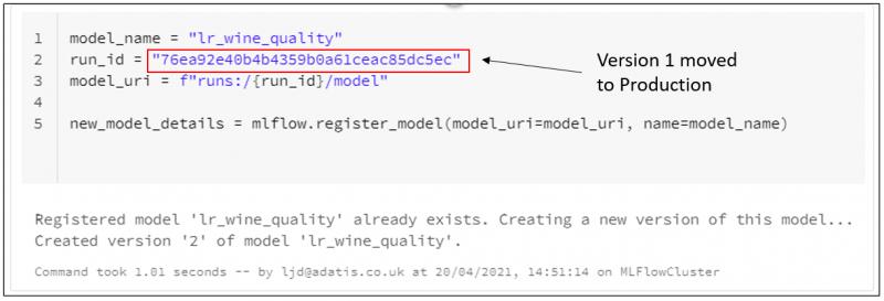 Register New Version of Model