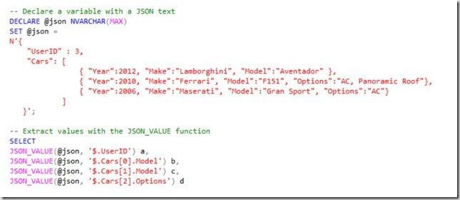 JSON value 1