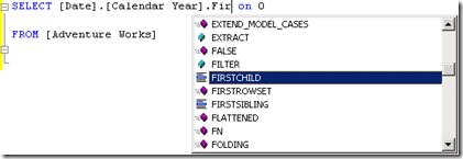 Screen shot of SQL Server 2008 intellisense in action