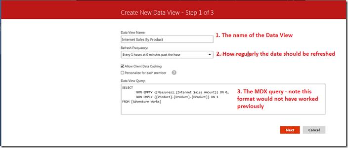 Create new data view in Datazen