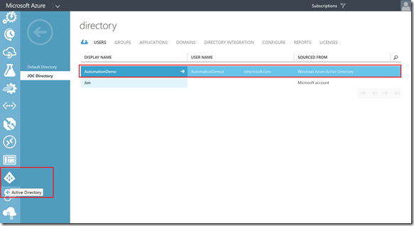 user setup in active directory portal