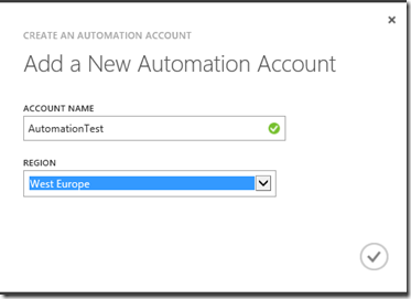 create new automation account