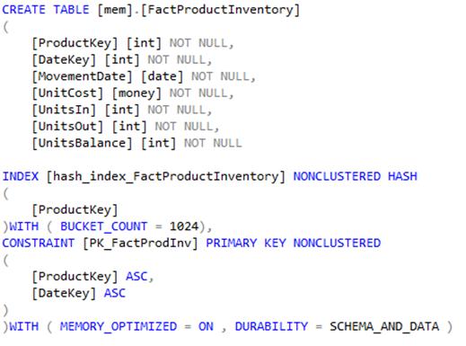Script to create memory optimised table