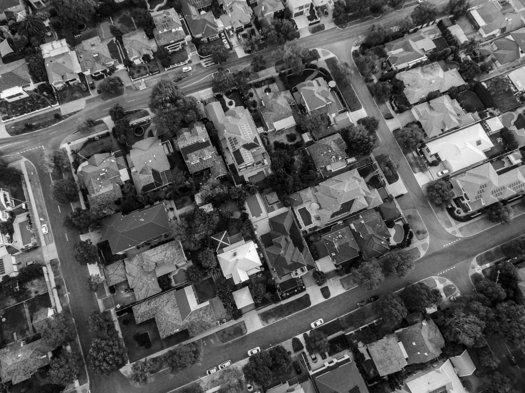 a birds eye view of a housing estate